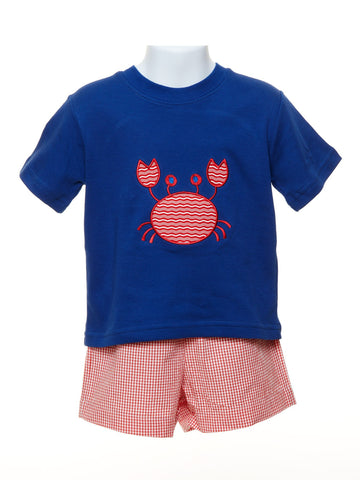 Mulberry St. Toddler Boy Royal Blue T-shirt with Appliquéd Crab & Red Check Shorts