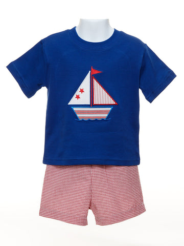 Mulberry St. Royal Toddler T-Shirt with Boat Appliqué & Red Check Shorts