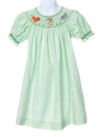 Mom & Me Baby Girl's Smocked Zoo Animal Bishop Dress