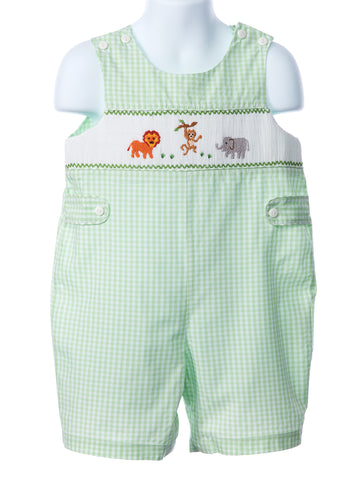Mom & Me Mint Gingham Smocked Zoo Time Jon jon