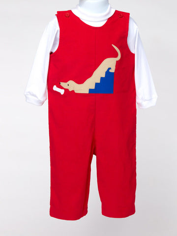 Boy's Red Cord Longalls with Zippered Leg For Easy Changing.