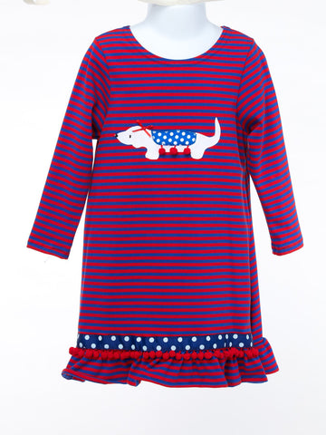 Dachshund Applique Knit Dress With Ruffle Hem