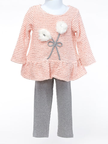 A Peach Flower Delight with Gray Coordinating Pant