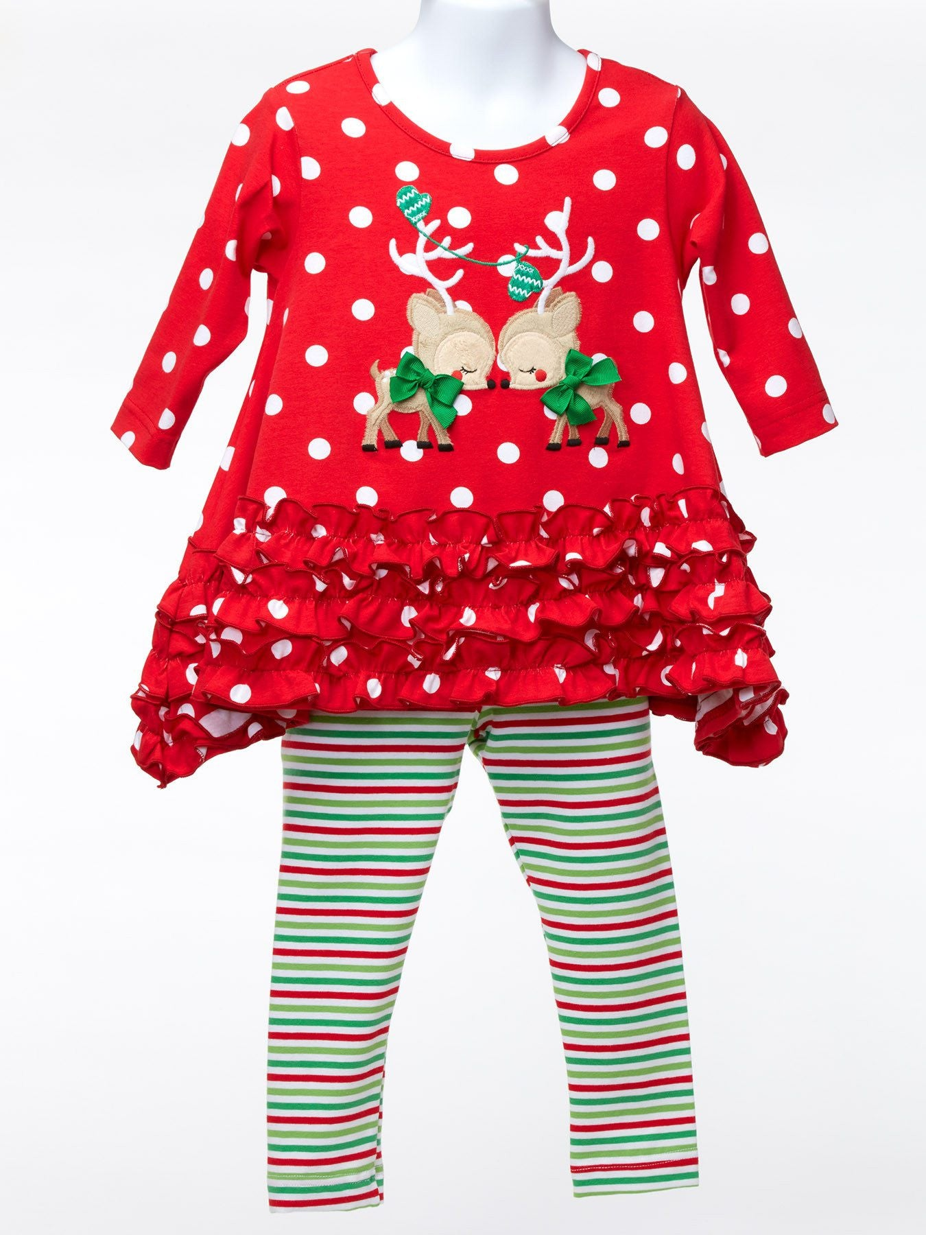 ced4c6be337d95 Toddler Red PolkaDot Reindeer Christmas Outfit – Ootza Wootza
