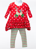 Toddler Girl Red Polka-Dot Reindeer Ruffle Top with Leggings