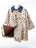 Max & Dora Sophisticate Sueded Zebra Swing Coat