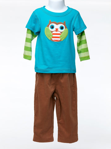 Bright Blue Owl Shirt and Brown Pants