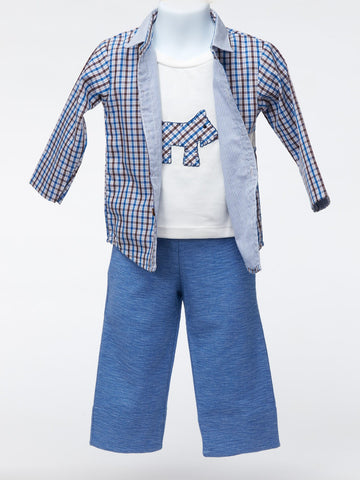 Blue Plaid Shirt with Appliqué Tee and Blue Pants