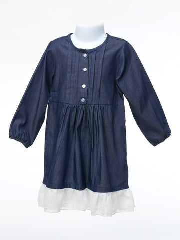 Dark Blue  Denim Dress with White Ruffle
