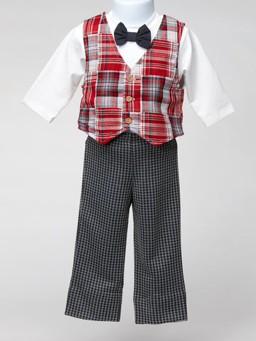 Cach Cach Red Plaid Vest, White T-shirt and Bow Tie with Coordinating Pant
