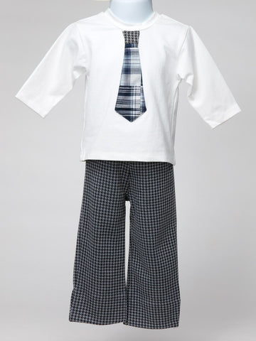 Dapper White Shirt with Appliqued Plaid Tie and Pants