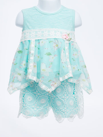 Amazing Toddler Two Piece Handkerchief Floral and Lace Short Set