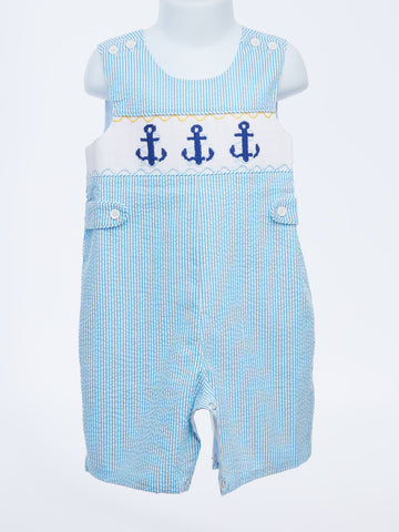 Drop Anchor!  Smocked Blue Stripe JonJon