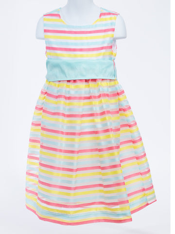 Candy Confection Waistline Dress in Candy Stripes