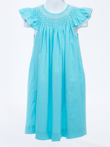 Classic Turquoise Smocked Bishop Dress with Seed Pearls