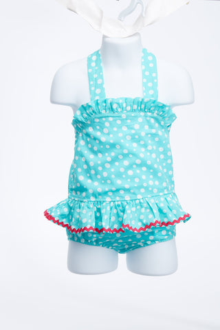Simply Fab Polka Dotted Teal Halter Swimsuit