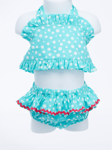 Retro Glam Girl's Halter Teal 2-Piece with Dots