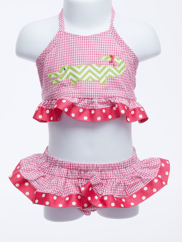Sassy Alligator Two Piece Bathing Suit for Girls