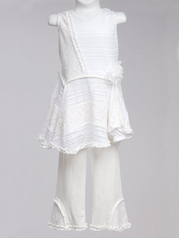 Hallen Amelie Favorite Light & Airy Lacey White Tunic and Pants