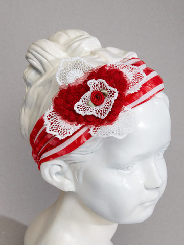 Rose Heart Stripe Headband with Floral Heart & Lace
