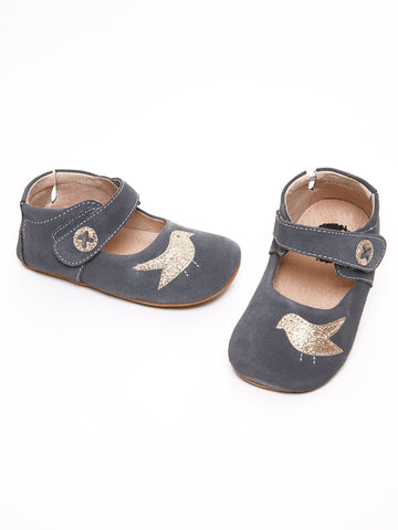 Suede Baby Shoe with Glittery Bird Appliqué