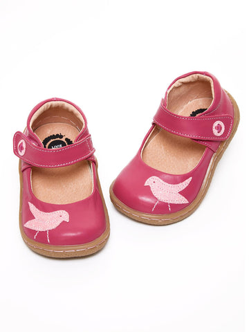 Livie & Luca Pio Pio Magenta Smooth Leather Classic with Sparkly Bird Appliqué