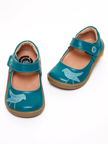 Teal Leather Upper Classic Shoe with Bird Appliqué