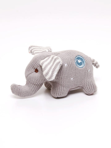 Knit Elephant Rattle Polka Dot Grey