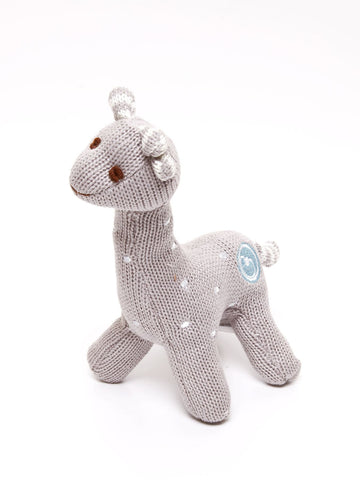 Gary the Giraffe Polka Dot Grey Rattle