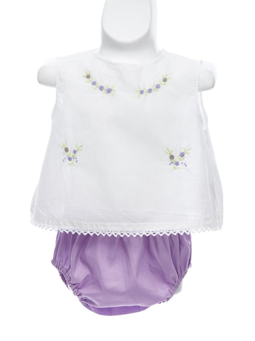 Baby Girl Embroidered Diaper Set
