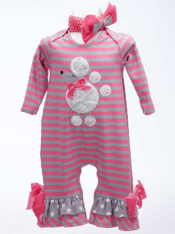 Gray & Pink Poodle Romper with Ruffles, Bows & Matching Hair Accessory