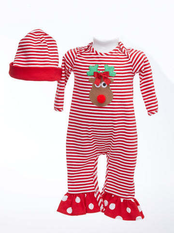 Christmas Romper with Appliqued Reindeer