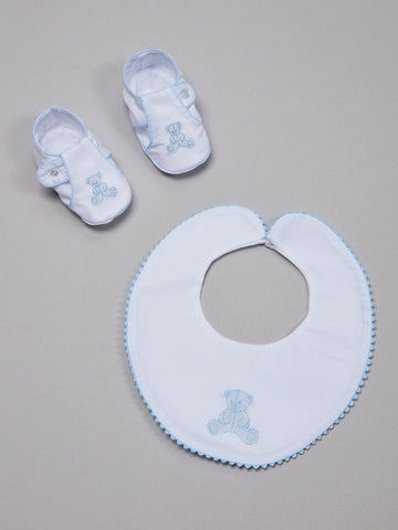 Baby Boy Bib and Shoes with Bear Motif