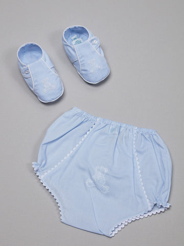 Blue Booties and Diaper Cover With Embroidered Bear