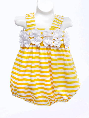 Adorable Yellow Stripe Knit Baby Bubble