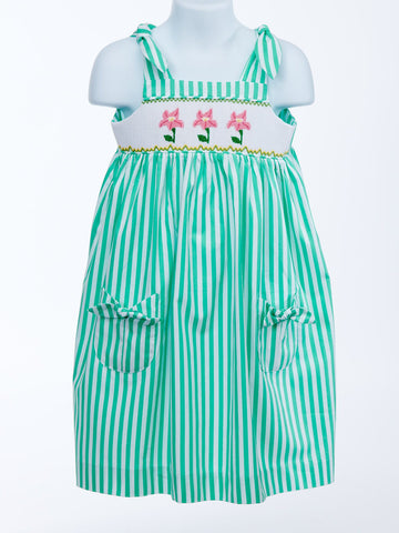 Traditional Modern Twist Green Stripe Flower Sundress