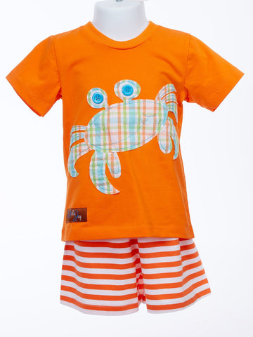 Millie Jay Beach Ready Crab Applique Baby T-Shirt and Shorts