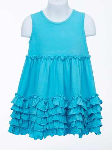 Ruffles Are My Bestfriend Turquoise Knit Sundress for Toddlers