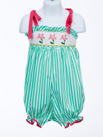 Updated Classic Green Stripe Smocked Bubble with Flowers
