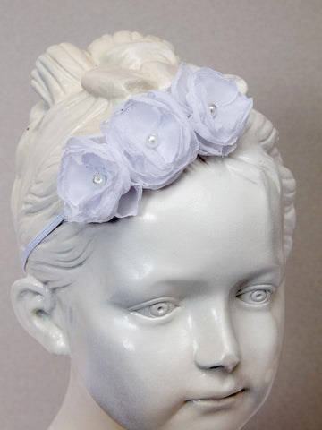 Chic Elastic Headband with 3 Dainty Pink or White Chiffon Flowers