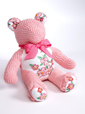 Snuggle Up Pink and Floral Chenille Teddy Bear