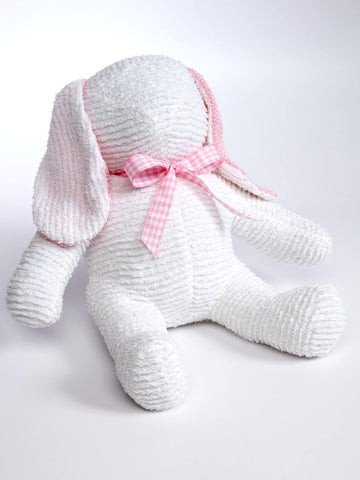 Handmade White and Pink Chenille Bunny
