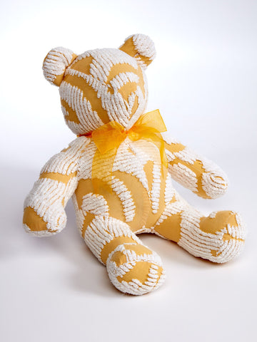 Snuggle Up Bright Yellow and White Chenille Teddy Bear