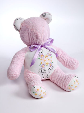 Snuggle Up Pale Pink and Floral Chenille Teddy Bear