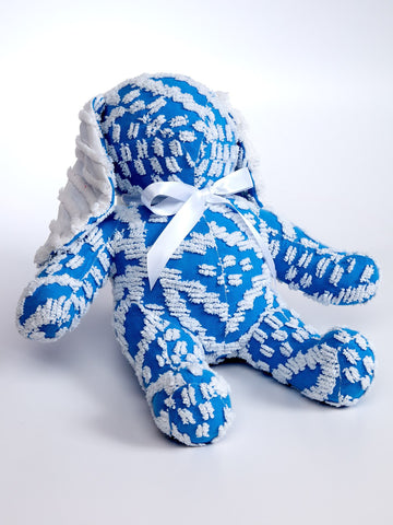 Handmade Royal Blue and White Chenille Bunny