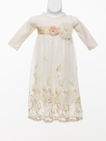 Peaches 'n Cream Baby Gold Embellished Gown