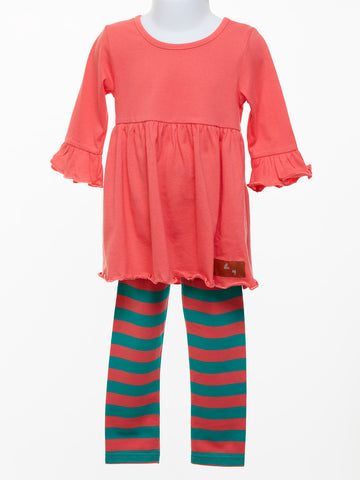 Millie Jay Girl's Coral & Turquoise Legging Set