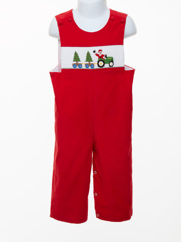 Three Sisters Santa Tractor Boy's Smocked Longall