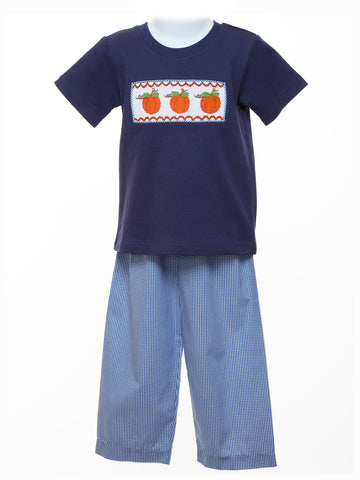 Banana Split Boy's Smocked T-shirt & Pants - Pumpkins