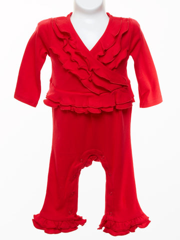 Three Sisters Baby Girl Red Knit Ruffle Romper